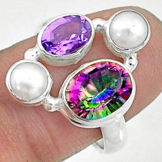 6.54cts rainbow topaz amethyst 925 sterling silver ring size 7 t10451