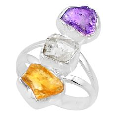 12.10cts raw amethyst citrine herkimer diamond raw silver ring size 7 r73739