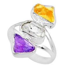 12.03cts raw amethyst citrine herkimer diamond raw silver ring size 9 r73721
