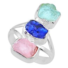 12.43cts raw aquamarine rose quartz sapphire raw 925 silver ring size 8 r73719