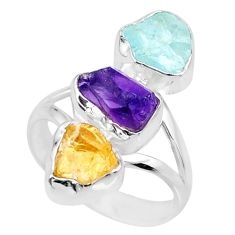 11.07cts raw citrine aquamarine amethyst raw 925 silver ring size 7.5 r73746