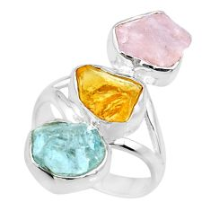 12.89cts raw citrine aquamarine rose quartz raw 925 silver ring size 7 r73753