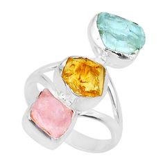 12.43cts raw citrine aquamarine rose quartz raw 925 silver ring size 7 r73757