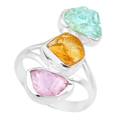 12.39cts raw citrine aquamarine rose quartz raw 925 silver ring size 9 r73758
