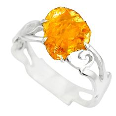 2.11cts raw citrine rough 925 silver solitaire ring jewelry size 7.5 r79370