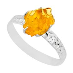 1.98cts raw citrine rough 925 silver solitaire ring jewelry size 7.5 r79381