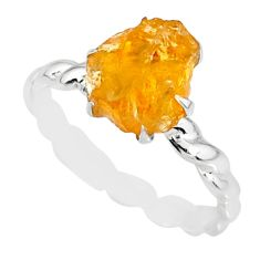 2.40cts raw citrine rough 925 silver solitaire ring jewelry size 8.5 r79382