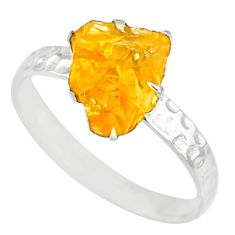 2.02cts raw citrine rough 925 silver solitaire ring jewelry size 7.5 r79402