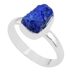 3.93cts raw natural blue sapphire raw 925 silver ring size 8 t33431