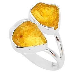 8.73cts raw natural orange tourmaline raw 925 silver ring size 8 t35101