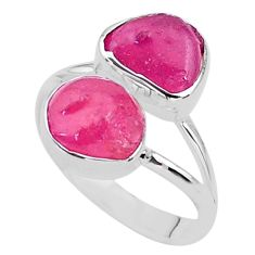 11.23cts raw natural pink ruby raw 925 sterling silver ring size 9 t35138