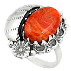 Clearance Sale- 6.18cts red copper turquoise 925 silver flower solitaire ring size 9 d39056