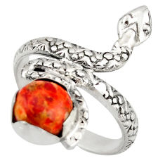 3.19cts red copper turquoise 925 silver snake solitaire ring size 7.5 d46265
