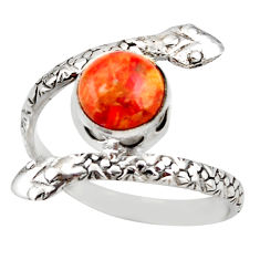 3.02cts red copper turquoise 925 sterling silver snake ring size 9.5 d46255