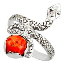 3.19cts red copper turquoise 925 sterling silver snake ring size 8.5 d46256
