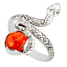 3.20cts red copper turquoise 925 sterling silver snake ring size 9 d46254