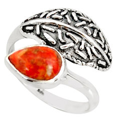 2.31cts red copper turquoise 925 sterling silver solitaire ring size 8 r36910