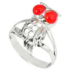 1.13cts red coral 925 sterling silver owl ring jewelry size 7.5 c12245