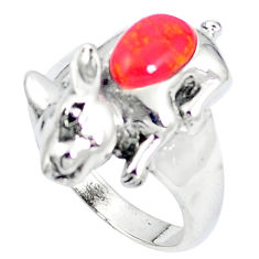 Red coral 925 sterling silver ring jewelry size 7.5 c12055