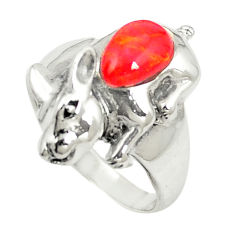 Red coral 925 sterling silver ring jewelry size 8.5 c12229