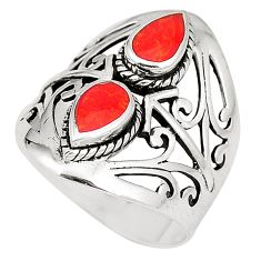 2.73cts red coral 925 sterling silver ring jewelry size 8.5 c12309