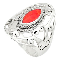 2.85cts red coral 925 sterling silver ring jewelry size 8.5 c12327