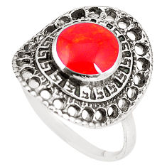2.56cts red coral 925 sterling silver ring jewelry size 7.5 c12360