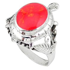 3.28cts red coral 925 sterling silver ring jewelry size 8 c11922