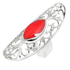 2.41cts red coral 925 sterling silver ring jewelry size 8 c12658