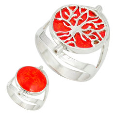 Red coral 925 sterling silver tree of life ring jewelry size 7.5 c11914