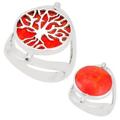 Red coral 925 sterling silver tree of life ring jewelry size 6.5 c12806