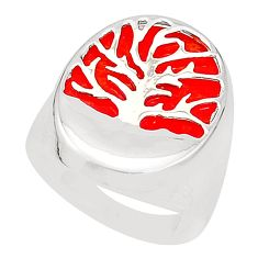 Red coral 925 sterling silver tree of life ring jewelry size 7.5 c12812