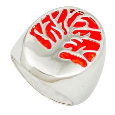 Red coral 925 sterling silver tree of life ring jewelry size 7 c11904
