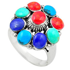 Red coral blue turquoise 925 sterling silver ring jewelry size 5 c12424