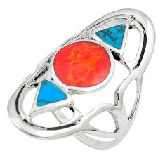 6.48gms red coral blue turquoise enamel 925 sterling silver ring size 8 c12773