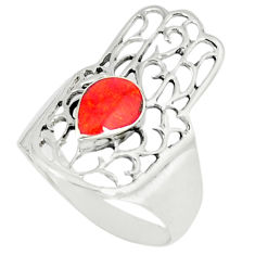 4.69gms red coral enamel 925 silver hand of god hamsa ring size 8.5 c11981