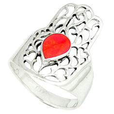 4.69gms red coral enamel 925 silver hand of god hamsa ring size 8.5 c11992