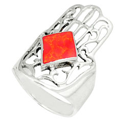 4.69gms red coral enamel 925 silver hand of god hamsa ring size 5.5 c12139