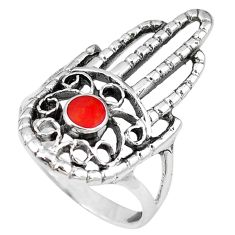 Red coral enamel 925 silver hand of god hamsa ring jewelry size 8.5 c11985