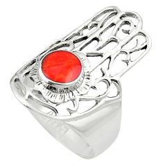 Red coral enamel 925 silver hand of god hamsa ring jewelry size 6.5 c11988
