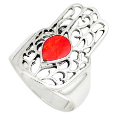 Red coral enamel 925 silver hand of god hamsa ring jewelry size 8.5 c12124