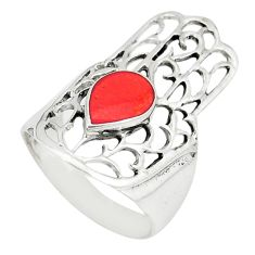 Red coral enamel 925 silver hand of god hamsa ring jewelry size 5.5 c12135