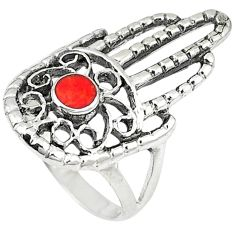 Red coral enamel 925 silver hand of god hamsa ring jewelry size 7 c11990