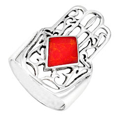 Red coral enamel 925 silver hand of god hamsa ring jewelry size 7 c11996