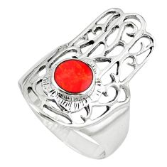 Red coral enamel 925 silver hand of god hamsa ring jewelry size 8 c12126