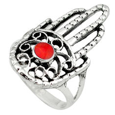 Red coral enamel 925 silver hand of god hamsa ring jewelry size 8 c12129