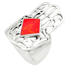 Red coral enamel 925 silver hand of god hamsa ring jewelry size 8 c12136
