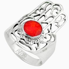 Red coral enamel 925 silver hand of god hamsa ring jewelry size 9 c11982