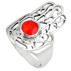 Red coral enamel 925 silver hand of god hamsa ring jewelry size 9 c11998
