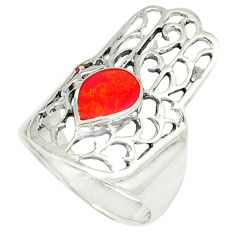 4.26gms red coral enamel 925 silver hand of god hamsa ring size 6 c11995